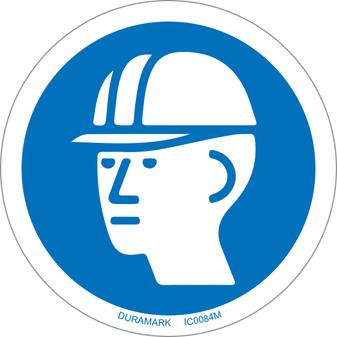 ISO safety label - Circle - Mandatory - Wear Hard Hat