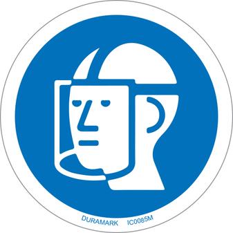 ISO safety label - Circle - Mandatory - Wear Face Shield
