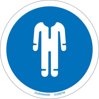 ISO safety label - Circle - Mandatory - Wear Protective Clothing