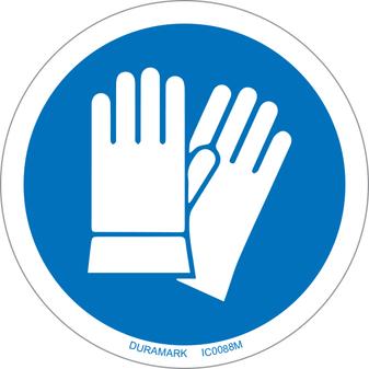 ISO safety label - Circle - Mandatory - Wear Safety Gloves
