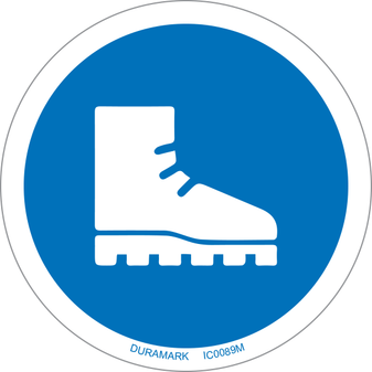 ISO safety label - Circle - Mandatory - Wear Foot Protection