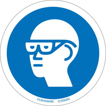 ISO safety label - Circle - Mandatory - Wear Eye Protection