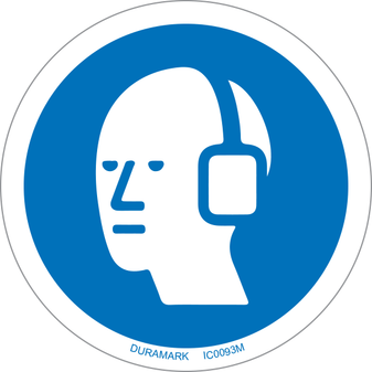 ISO safety label - Circle - Mandatory - Wear Ear Protection