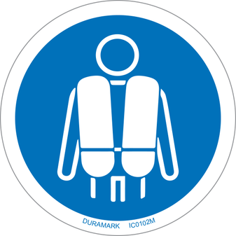 ISO safety label - Circle - Mandatory - Life Jacket/Vest Required
