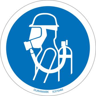 ISO safety label - Circle - Mandatory - Use Breathing Aparatus