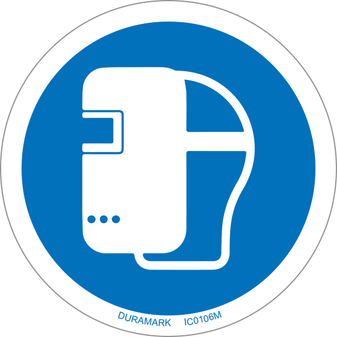 ISO safety label - Circle - Mandatory - Wear Welding Mask