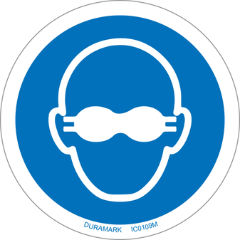 ISO safety label - Circle - Mandatory - Wear Opaque Eye Protection