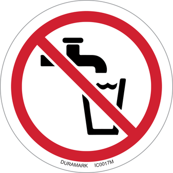 ISO safety label - Circle - Prohibited - No Drinking Water - Faucet