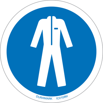 ISO safety label - Circle - Mandatory - Wear Protective Clothing - Human