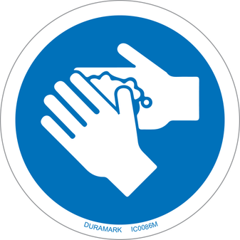 ISO safety label - Circle - Mandatory - Wash Your Hands