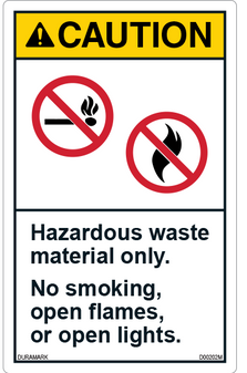 ANSI Safety Label - Warning - Hazardous Waste Material Only - No Smoking/Flames - Vertical