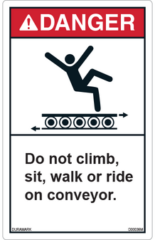 ANSI Safety Label - Danger - Do Not Climb, Sit, Walk, or Ride - Vertical