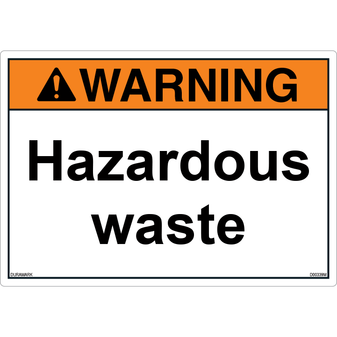 ANSI Safety Label - Warning - Hazardous Waste