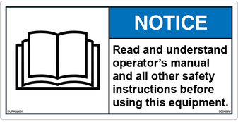 ANSI Safety Label - Notice - Read Manual and Safety Instructions