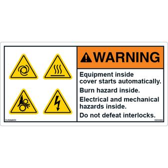 ANSI Safety Label - Warning - Machine Safety
