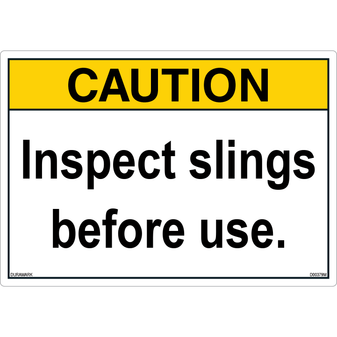 ANSI Safety Label - Caution - Inspect Slings Before Use