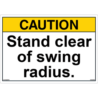 ANSI Safety Label - Caution - Stand Clear of Swing Radius