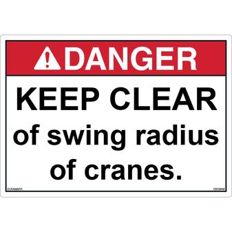 ANSI Safety Label - Danger - Keep Clear - Swing Radius
