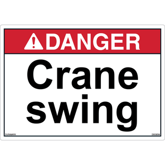 ANSI Safety Label - Danger - Crane Swing