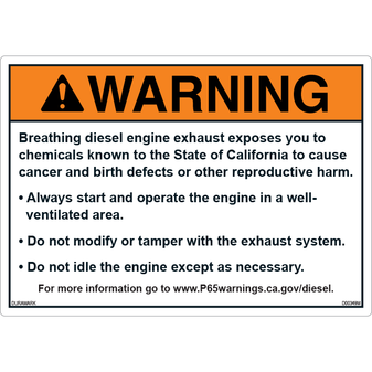 ANSI Safety Label - Warning - Prop65 - Bullet Point