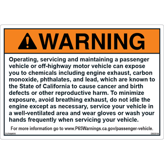 ANSI Safety Label - Warning - Prop65 - Paragraph