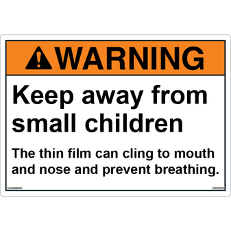 ANSI Safety Label - Warning - Choking Hazard - Thin Film