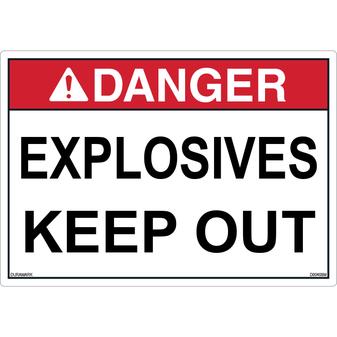 ANSI Safety Label - Danger - Explosives - Keep Out