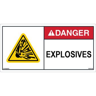 ANSI Safety Label - Danger - Explosive Materials