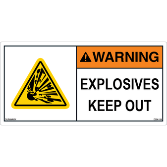 ANSI Safety Label - Warning - Explosive Materials