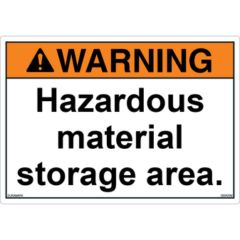 ANSI Safety Label - Warning - Hazardous Material - Storage Area