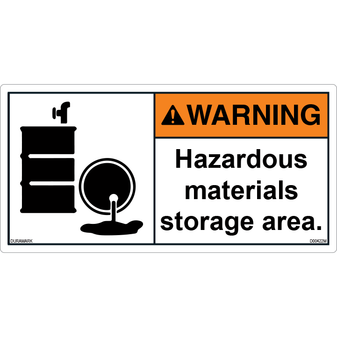 ANSI Safety Label - Warning - Hazardous Materials - Barrels