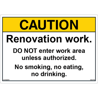 ANSI Safety Label - Caution - Renovation Work