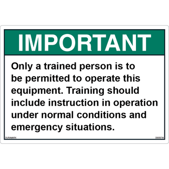 ANSI Safety Label - Important - Only Trained Persons