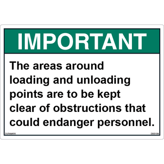 ANSI Safety Label - Important - Loading and Unloading