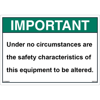 ANSI Safety Label - Important - Safety Characteristics