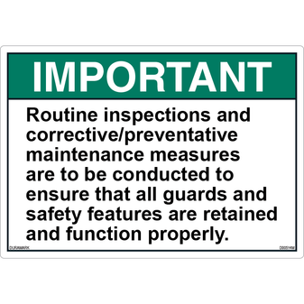 ANSI Safety Label - Important - Routine Inspections/Maintenance