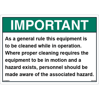 ANSI Safety Label - Important - Proper Cleaning
