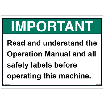 ANSI Safety Label - Important - Read Manual