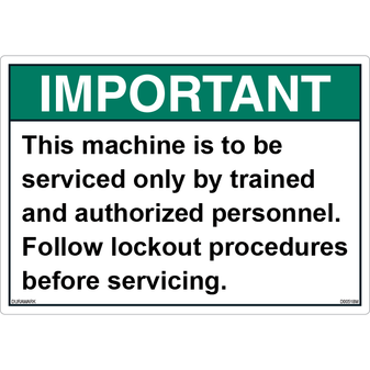 ANSI Safety Label - Important - Servicing