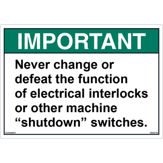 ANSI Safety Label - Important - Shutdown Switches