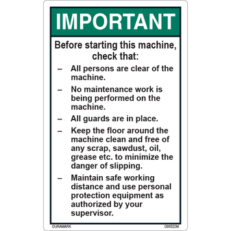ANSI Safety Label - Important - Pre-Start Checklist