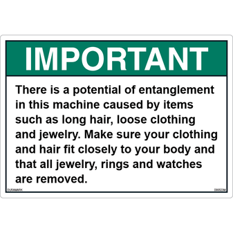 ANSI Safety Label - Important - Entanglement Hazard