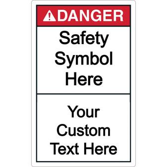 Custom Vertical Danger Label with Symbol