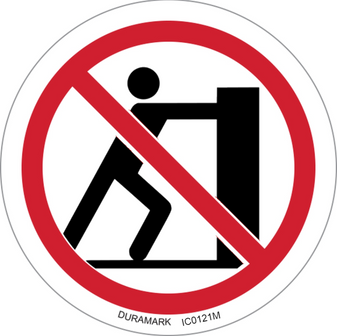 Prohibited - Do Not Push - ISO Circle Safety Label