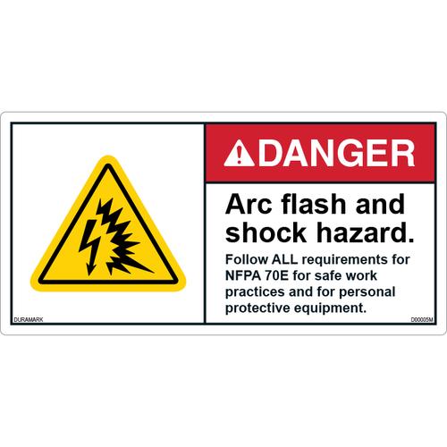 ANSI Safety Label - Danger - Arc Flash/Shock Hazard - NFPA 70E