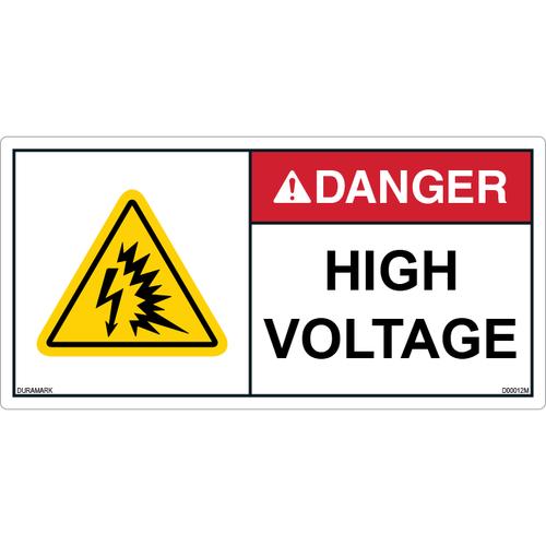 ANSI Safety Label - Danger - High Voltage