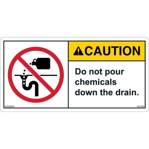 ANSI Safety Label - Caution - Chemicals Down Drain