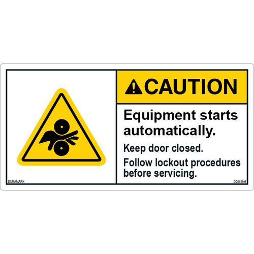 ANSI Safety Label - Caution - Equipment Starts Automatically - Lockout Procedure