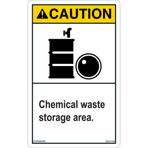 ANSI Safety Label - Caution - Chemical Waste Storage - Vertical
