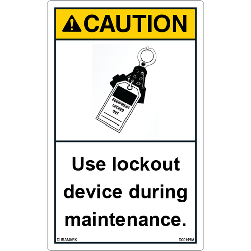 ANSI Safety Label - Caution - Lockout - Maintenance - Vertical